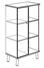 PAIDI Standregal 3 Offene Fächer 1 Tür Links Modell Ylvie